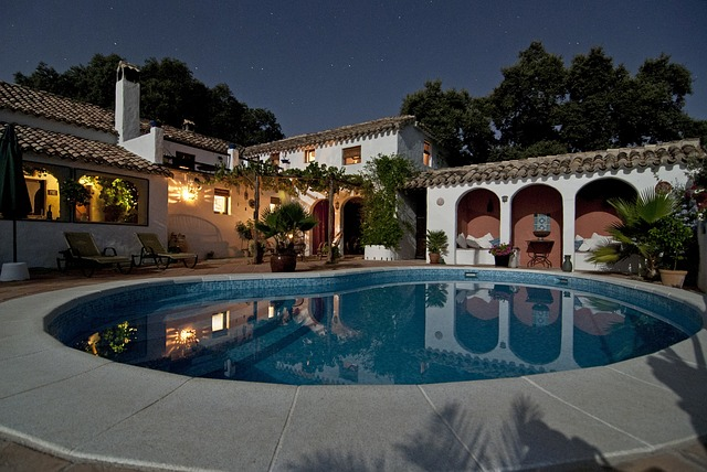Spanish-style mansion with outdoor pool