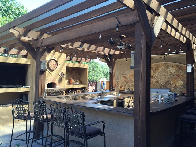 kitchen under a covered awning