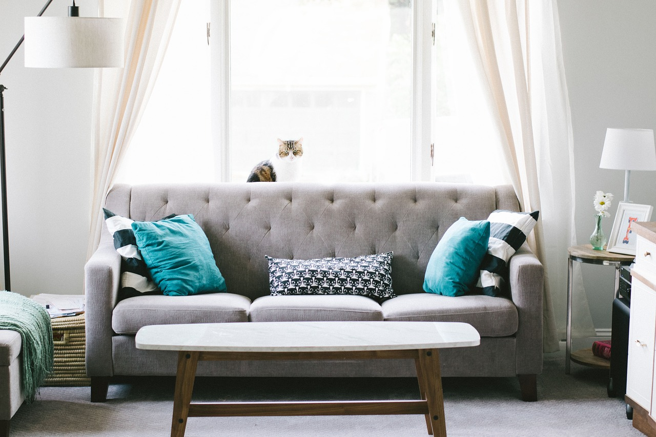 Living room with gray couch and blue pillows.