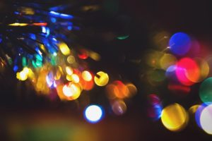 A close-up of twinkling lights.