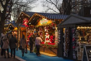An outdoor holiday market.