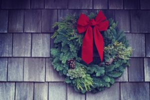 A wreath hanging on a wall.