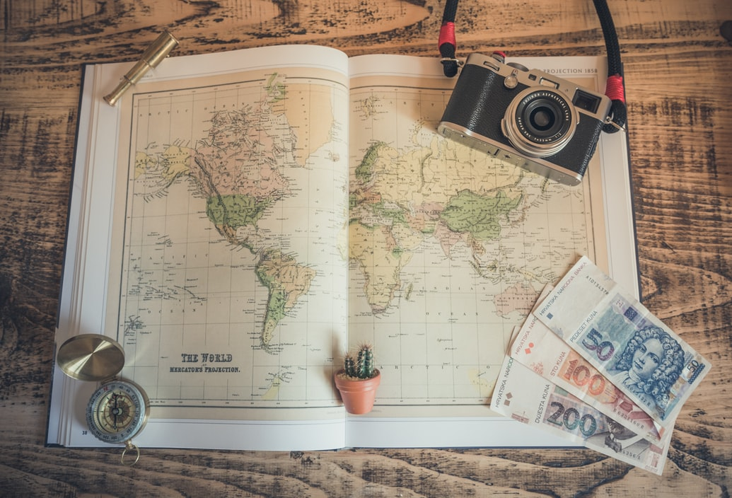 A map, camera, money, and a compass.