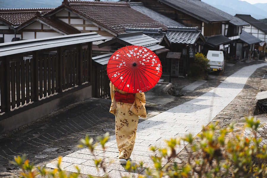 Woman walking with parasol in kimono